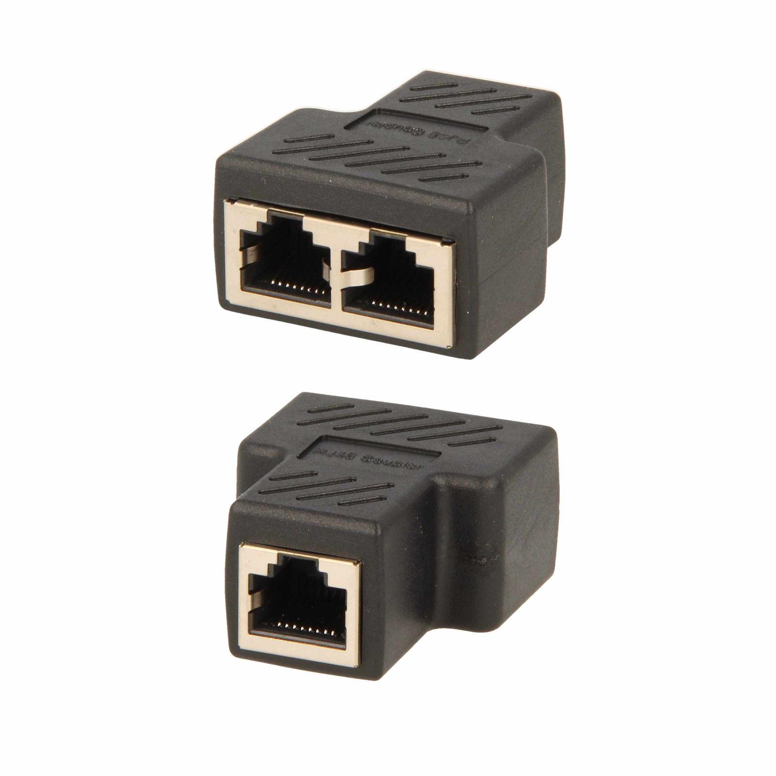 netzwerkkabel lan splitter verteiler rj45 8p8c kabel doppler cat5 cat 6 stecker ebay. Black Bedroom Furniture Sets. Home Design Ideas