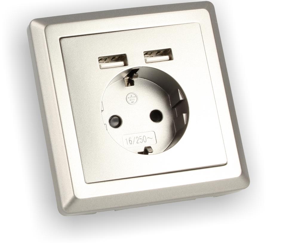 230v steckdose unterputz mit usb anschluss 2 1a und. Black Bedroom Furniture Sets. Home Design Ideas