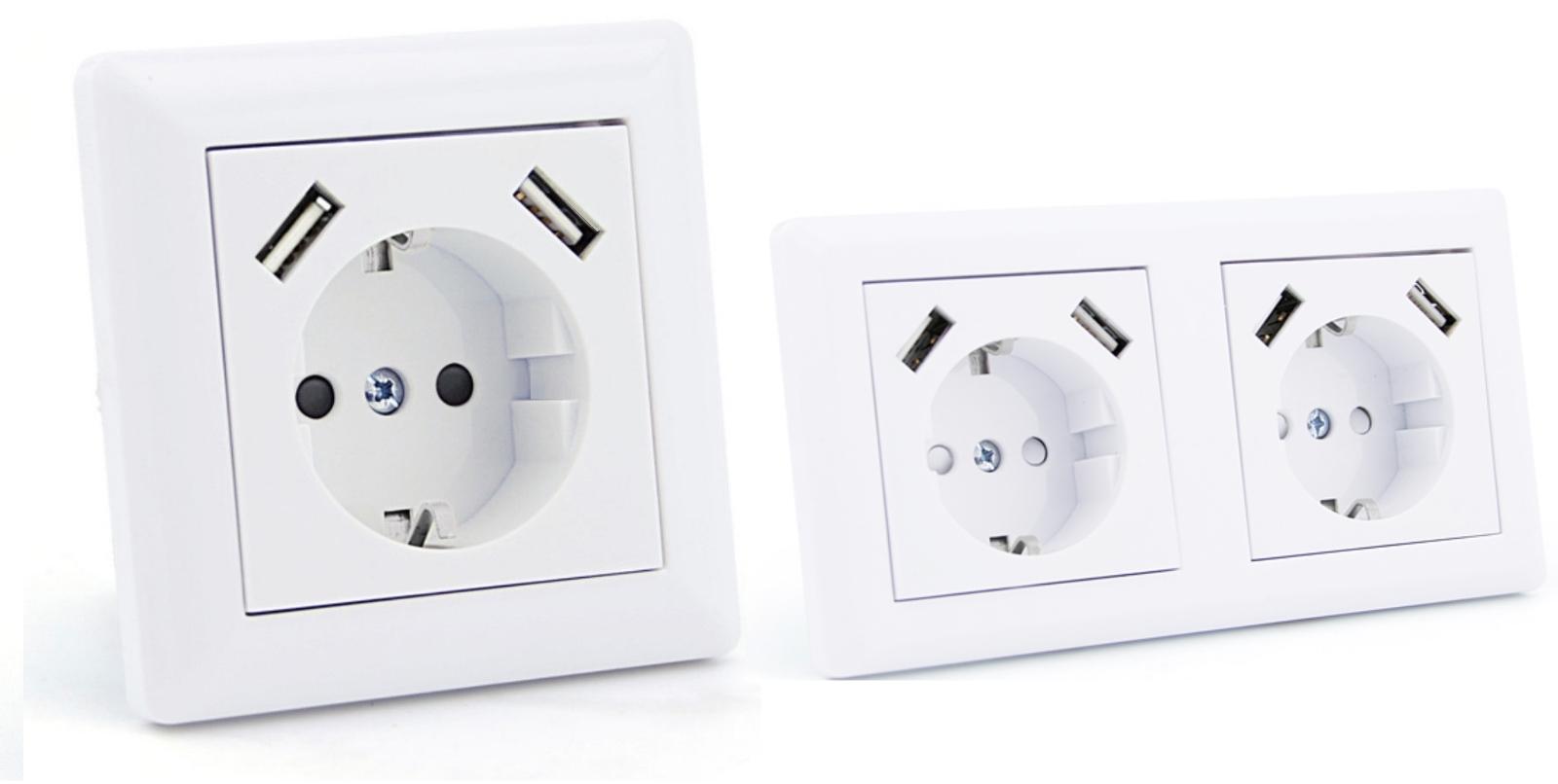 steckdose mit usb anschluss unterputz 2 8a bis 250v. Black Bedroom Furniture Sets. Home Design Ideas