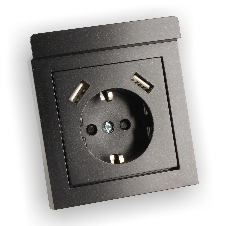 230v schuko steckdose unterputz mit 2x usb anschluss 2 8a. Black Bedroom Furniture Sets. Home Design Ideas