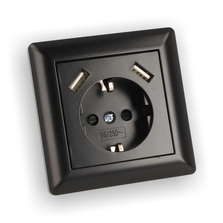 230v steckdose unterputz mit 2x usb anschluss 2 8a passt. Black Bedroom Furniture Sets. Home Design Ideas